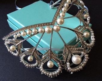 Romantic rhinestones crystals pearls headpiece, wedding headpiece, bridal crown, rhinestones hair comb, romantic hair comb, bridal crown