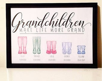 Unframed GRANDCHILDREN Personalised Welly Print A4 Wall Art Unframed - Perfect Christmas/Birthday/Anniversary Gift for Grandparents
