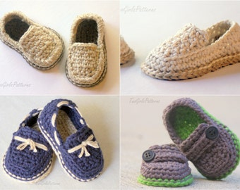 CROCHET PATTERN #120 - Baby Lil' loafers pattern pack comes with all 4 variations - baby button loafer, boat shoe, modern casual loafers L