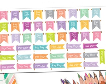 Colorful Pay Day Flag Stickers | Payday Scroll and Banner Stickers | Cute and Preppy Rainbow Planner Stickers | Fits ECLP and Other Planners