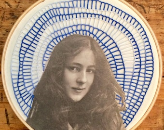 Evelyn Nesbit - hand embroidery hoop art