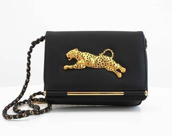 Vintage NIMA Brand Gold Leopard and Black Vinyl Chain Link Cross Body Retro LIKE NEW Handbag Purse