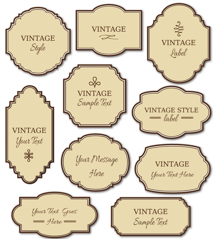 CLIP ART: Vintage Labels Pack // Digital Frames // DIY Cards