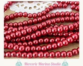 40 round 6mm red glass beads