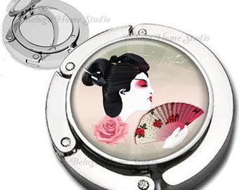 Geisha and Fan Foldable Purse Hook Bag Hanger With Double Sided Compact Mirror