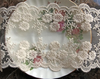 Reneabouquets Trim- 4.5 Inch Wide Floral Embroidered  Lace In Ivory, Embroidery,  Venice , Bridal, Costume Design, Lace Applique, Crafting
