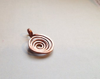 Small copper spiral pendant hand hammered