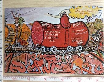 Vintage Post Card Tank Car Wine Oil Painting Greyton H Taylor Used