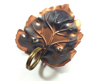 "Vintage Copper Candy Dish / Nut Bowl with Leaf Shape by Coppercraft Guild, 6"" Long"