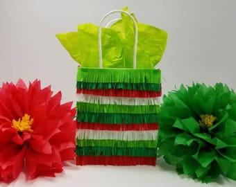 Christmas Feliz Navidad Fiesta Piñata Cinco de Mayo Treat Loot Fringe-Cut Birthday Paper Gift Bags 12 ct