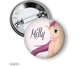 Unicorn pinback button badge or magnet