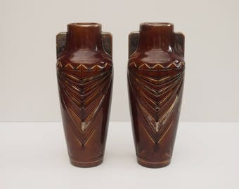 french Art Nouveau Pair of Vases Signed Elgé Louis mouth. Glazed Ceramic Geometric Pattern Brown and Gold Gilded Vases, Circa 1930 s