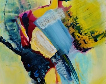 Abstract with Yellows and Blues - original, mixed media on yupo paper