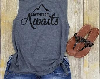 adventure awaits, adventure tank, mountains tank, wanderlust tank, hiking tank, workout tank, the mountains is calling, hiking top