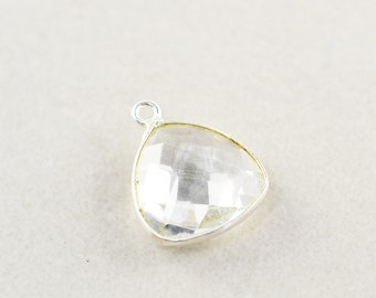 Sterling Silver Clear Quartz Charm, Silver Gemstone Triangle Charm, 15mm Stone Charm, One