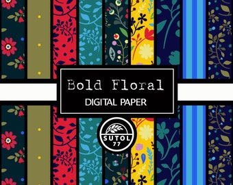 "Bold Floral Digital Paper Set ~  Digital Paper, jpeg 12""x12"" 300dpi"