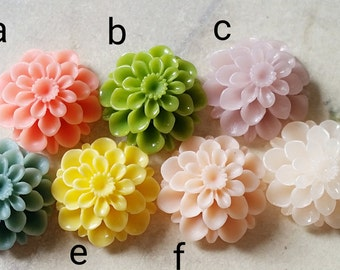 20 mm Assorted Color Resin Dahlia Flower Cabochons (.su) (zzb)