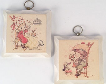 White Wood Plaques, Decoupage Little Girl and Boy on Phone, Dog and Mouse Pets, Strawberry Shortcake Style, Vintage 70s Shabby Pastel Decor