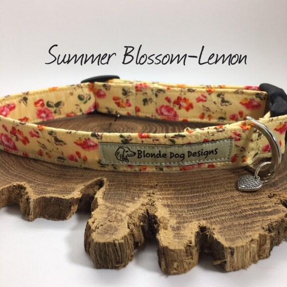 Floral Dog Collar, or, Floral Dog Lead, Summer Blossom Lemon, Pretty Dog Collar, Luxury Dog Collar, Luxury Dog Lead.