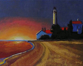 Lighthouse At Sunset, Realistic Landscape Oil Painting, Colorful