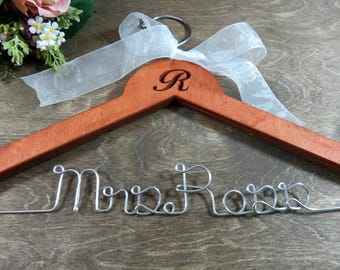 Personalized Hangers - Bridal Gown Hanger - Mrs Wedding Hanger - Last Name Hanger - Coat Hanger - Hanger With Names - Bridal Party Gifts