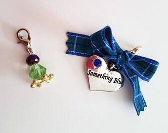 Garter Charm Set, Something blue, Wedding Charm, Wedding Gift, Bridal Charm, Tartan Garter, Gift for Bride, Bridal Gift, Groom Gift