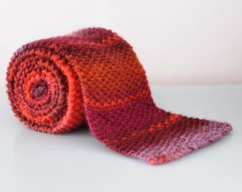 Red Bobble Scarf - Orange Purple Chunky Merino Wool Acrylic Moss Stitch Winter Accessory Unisex Gift for Him or Her by Emma Dickie Design