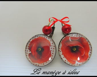Earrings / Stud Earrings/Cabochon/Metal Bronze, poppy, spring, Vintage.