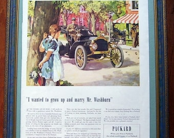 1939 Packard Car Original Ad, Double Sided, Westinghouse The Middleton Family At The New World's Fair, Magazine Print Page, Artist Drawn Ad