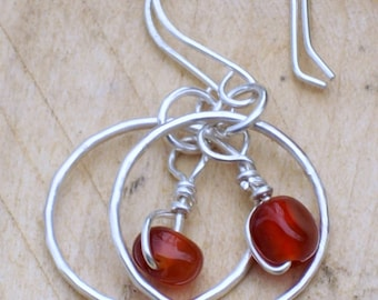 Sterling Silver Hoop Earrings - Carnelian Earrings - Small Hoops - Dark Orange - Red Gemstone - Silver Dangle Earrings - Chakra Earrings