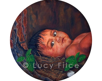 Fine Art Canvas Block Print,Native American,First Nations People,Baby Painting Picture,Newborn Baby Gift,Sacred Wall Art Portrait,Home Decor