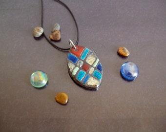 raku ceramic pendant, rainbow Jewelry Pendant, ceramic necklace, colorful pendant, raku pendant, raku necklace, ceramic handmade jewelry