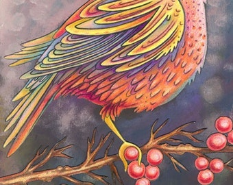 Beautiful Bird 3 - an 8 x 10 inch ART PRINT of a uniquely coloured beautiful songbird of dusty pinks and purples and sunset oranges and blue