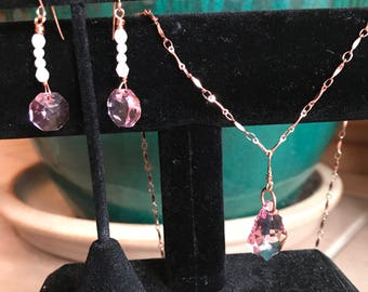 Pink Swarovski Crystal Necklace and Earring Set
