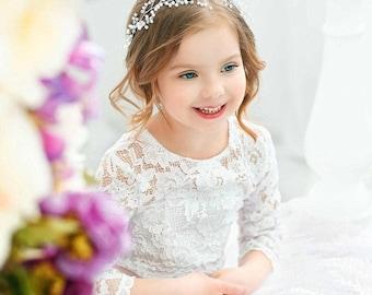 Babys breath hair piece Long hair vine Bridal hair vine Pearls Bridal Wedding Bridal Headband Bridal Headpiece Rhinestone Headband Wedding