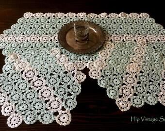 Vintage Crochet Runner and Doily Set, Agua/White Crochet Table Toppers, Crochet Home Decor, Retro Home Decor