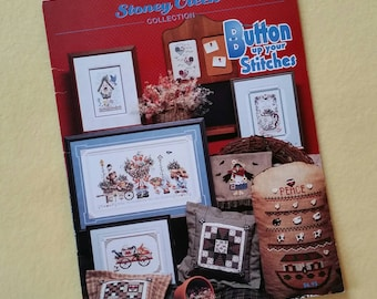 Button up your Stitches, Stoney Creek Collection Book 187 - vintage cross stitch chart booklet 1997 First Printing