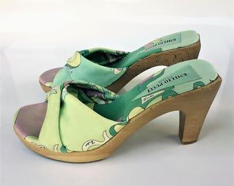 Vintage Emililo Pucci Canvas Platform Sandals With Wood Heel and Sole - Size 8 1/2