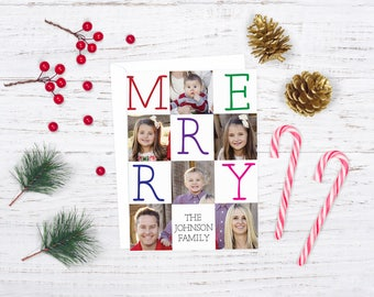 Merry Christmas Photo Card, Family Christmas Card, Photo Holiday card, Client Christmas Card, Digital Christmas Card, Custom Christmas Card