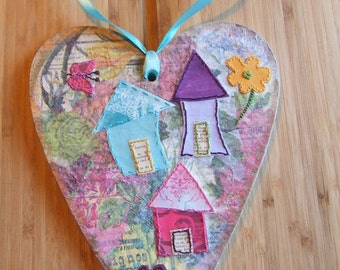 Wooden Hanging Heart Plaque, Hand Stitched New Home, Anniversary, Unique