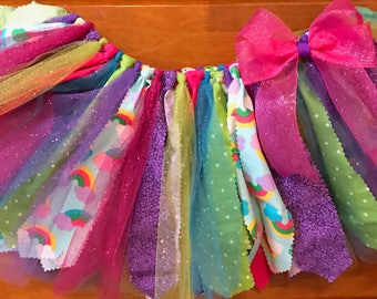 Pink, Turquoise, Purple, and Green Rainbows Scrap Fabric and Tulle Tutu