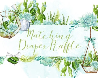 Matching Diaper Raffle Tickets Printable Digital File or Prints with Free Shipping