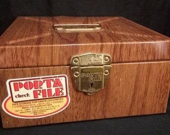 Vintage Porta File WITH KEY Faux wood, metal locking box, file, storage, industrial