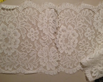 "Ivory French Alencon Bridal Lace 9"" wide"