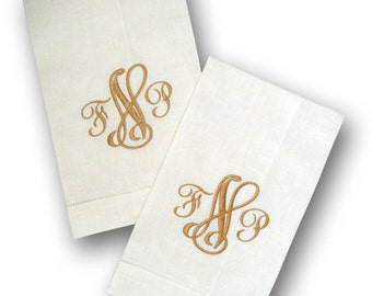 Monogrammed Linen Towels - Set of Two