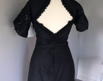 Vintage 90's LBD with sequin detail and cut out back, size 10