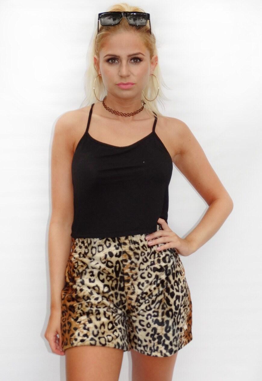 5d4404a645 Faux Fur Leopard Casual Shorts Leopard Print Casual Jersey
