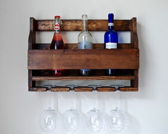 Rustic Wine Rack, Rustic Wood Wine Rack, 6 Bottle Wine Rack, Wine Rack and Shelf, Wooden Wine Rack, Wood Wine Rack
