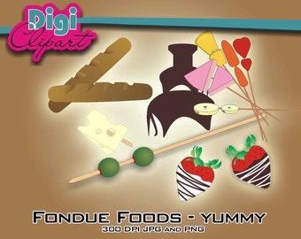 Chocolate Fondue Clip Art - Digital Download