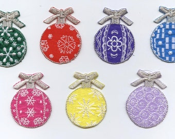 Christmas - Ball Ornaments - Color Choice - Iron on Applique - Embroidered Patch
